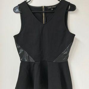 Dora Landa Black Peplum Top with Leather Side Smal